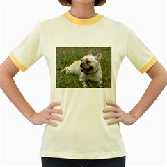 French Bulldog White Full Women s Fitted Ringer T-Shirts by TailWags
