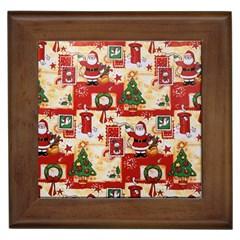 Santa Clause Mail Bird Snow Framed Tiles by AnjaniArt
