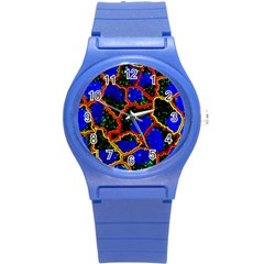 Single Cells Gene Edges Zoomin Color Round Plastic Sport Watch (s) by AnjaniArt