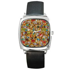 Retro Face Square Metal Watch by AnjaniArt
