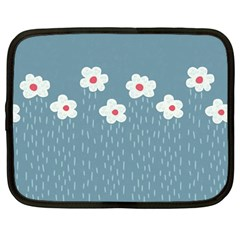 Cloudy Sky With Rain And Flowers Netbook Case (large) by CreaturesStore
