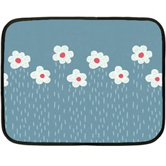 Cloudy Sky With Rain And Flowers Double Sided Fleece Blanket (mini)  by CreaturesStore