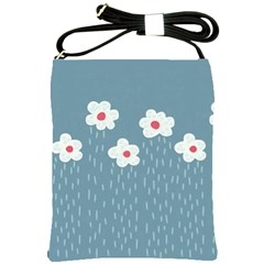 Cloudy Sky With Rain And Flowers Shoulder Sling Bags by CreaturesStore