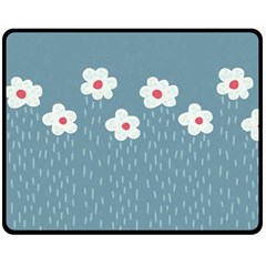 Cloudy Sky With Rain And Flowers Fleece Blanket (medium)  by CreaturesStore