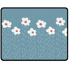 Cloudy Sky With Rain And Flowers Double Sided Fleece Blanket (medium)  by CreaturesStore
