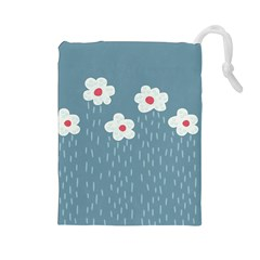 Cloudy Sky With Rain And Flowers Drawstring Pouches (large)  by CreaturesStore