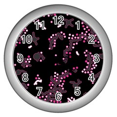 In My Mind   Pink Wall Clocks (silver)  by Valentinaart