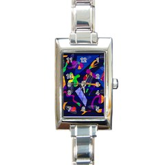 Colorful Dream Rectangle Italian Charm Watch by Valentinaart