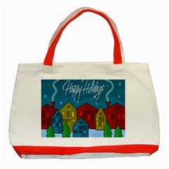 Xmas Landscape Classic Tote Bag (red) by Valentinaart