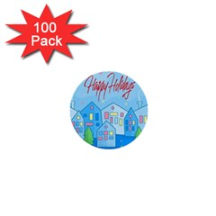Xmas Landscape   Happy Holidays 1  Mini Buttons (100 Pack)  by Valentinaart