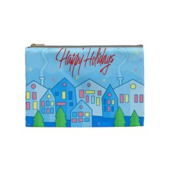 Xmas Landscape   Happy Holidays Cosmetic Bag (medium)  by Valentinaart