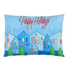 Xmas Landscape   Happy Holidays Pillow Case (two Sides) by Valentinaart