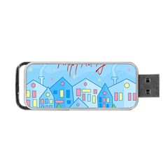 Xmas Landscape   Happy Holidays Portable Usb Flash (two Sides) by Valentinaart