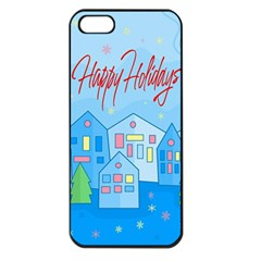 Xmas Landscape   Happy Holidays Apple Iphone 5 Seamless Case (black) by Valentinaart