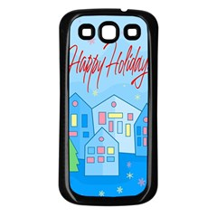 Xmas Landscape   Happy Holidays Samsung Galaxy S3 Back Case (black) by Valentinaart