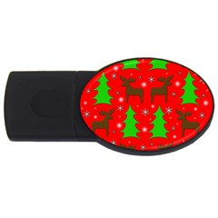 Reindeer And Xmas Trees Pattern Usb Flash Drive Oval (2 Gb)  by Valentinaart