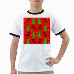Reindeer And Xmas Trees Pattern Ringer T Shirts by Valentinaart