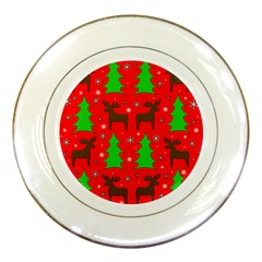 Reindeer And Xmas Trees Pattern Porcelain Plates by Valentinaart