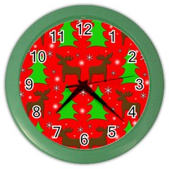 Reindeer And Xmas Trees Pattern Color Wall Clocks by Valentinaart