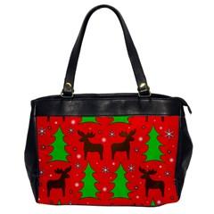 Reindeer And Xmas Trees Pattern Office Handbags by Valentinaart