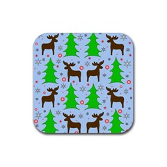 Reindeer And Xmas Trees  Rubber Coaster (square)