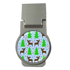 Reindeer And Xmas Trees  Money Clips (round)  by Valentinaart