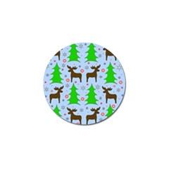 Reindeer And Xmas Trees  Golf Ball Marker by Valentinaart