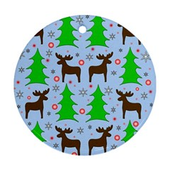 Reindeer And Xmas Trees  Round Ornament (two Sides)  by Valentinaart