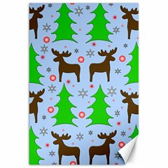 Reindeer And Xmas Trees  Canvas 20  X 30   by Valentinaart