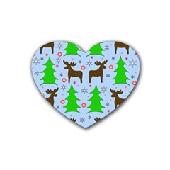 Reindeer And Xmas Trees  Rubber Coaster (heart)  by Valentinaart