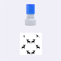 Reindeer And Xmas Trees  Rubber Round Stamps (small) by Valentinaart
