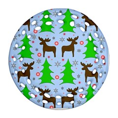 Reindeer and Xmas trees  Round Filigree Ornament (2Side) by Valentinaart