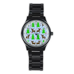 Reindeer And Xmas Trees  Stainless Steel Round Watch by Valentinaart