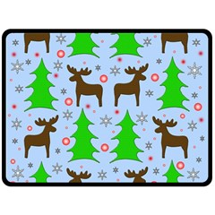 Reindeer And Xmas Trees  Double Sided Fleece Blanket (large)  by Valentinaart
