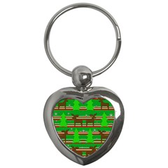 Christmas Trees And Reindeer Pattern Key Chains (heart)  by Valentinaart