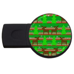 Christmas Trees And Reindeer Pattern Usb Flash Drive Round (2 Gb)  by Valentinaart