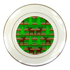 Christmas Trees And Reindeer Pattern Porcelain Plates by Valentinaart