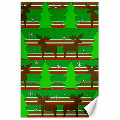 Christmas Trees And Reindeer Pattern Canvas 24  X 36  by Valentinaart