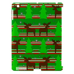 Christmas Trees And Reindeer Pattern Apple Ipad 3/4 Hardshell Case (compatible With Smart Cover) by Valentinaart
