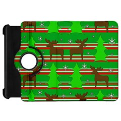 Christmas Trees And Reindeer Pattern Kindle Fire Hd Flip 360 Case by Valentinaart