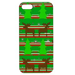 Christmas Trees And Reindeer Pattern Apple Iphone 5 Hardshell Case With Stand by Valentinaart