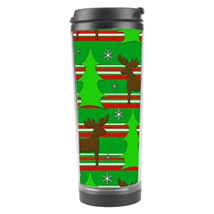 Christmas Trees And Reindeer Pattern Travel Tumbler by Valentinaart