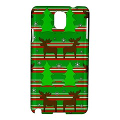Christmas Trees And Reindeer Pattern Samsung Galaxy Note 3 N9005 Hardshell Case by Valentinaart