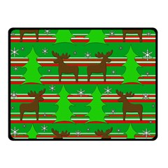 Christmas Trees And Reindeer Pattern Double Sided Fleece Blanket (small)  by Valentinaart