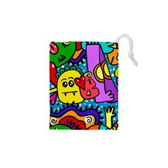 Cartoon Doodle Pattern Abstract Drawstring Pouches (XS)  by Zeze