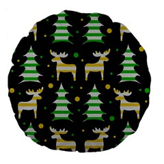 Decorative Xmas Reindeer Pattern Large 18  Premium Round Cushions by Valentinaart