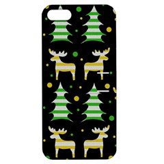 Decorative Xmas Reindeer Pattern Apple Iphone 5 Hardshell Case With Stand by Valentinaart