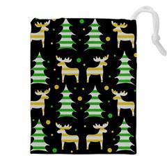 Decorative Xmas Reindeer Pattern Drawstring Pouches (xxl) by Valentinaart