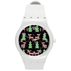 Reindeer Decorative Pattern Round Plastic Sport Watch (m) by Valentinaart