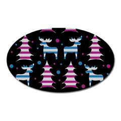 Blue And Pink Reindeer Pattern Oval Magnet by Valentinaart